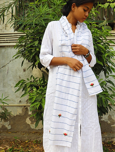 White Stripes ' Hand Embroidered ' Organic Cotton Stole