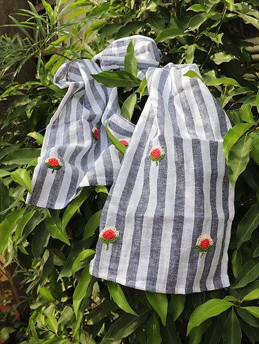 Grey White stripe ' Hand Embroidered ' Linen Stole
