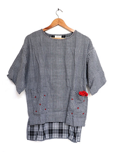 Double Weave Black Checkered Comfort Fit ' Organic Cotton ' Top