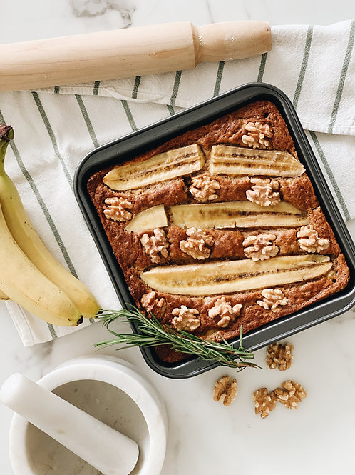 Banana Walnut Loaf or Cake (Plant-based)