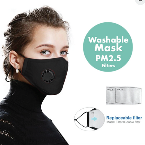 Washable Mask with 2 x Replacement Filters