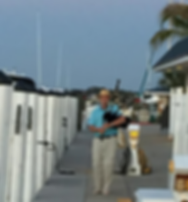 Bagpipes at Venice Yacht Club dock.