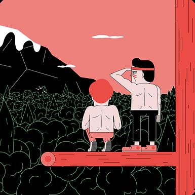 dessin 2 personnages Fiters dans une forêt
