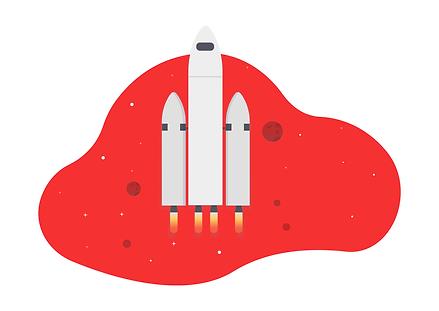 dessin d'une fusée dans l'espace