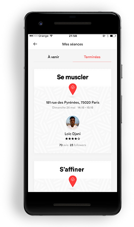 écran de l'application mobile Fiters