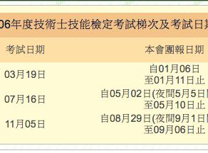 106年度技術士技能檢定考試梯次及考試日期