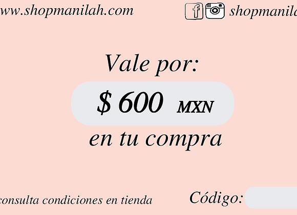 Tarjeta de Regalo $600