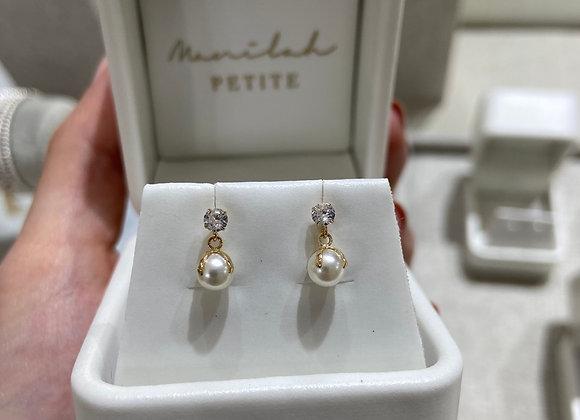 Aretes circonia perla colgante