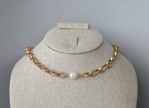 Collar Perla Eslabon Matte