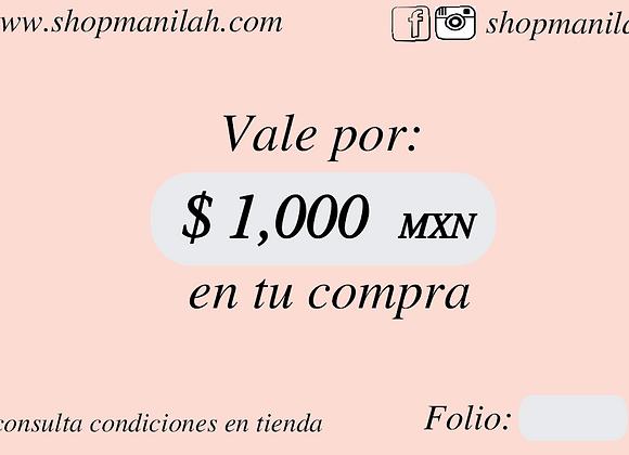 Tarjeta de Regalo $1,000 pesos