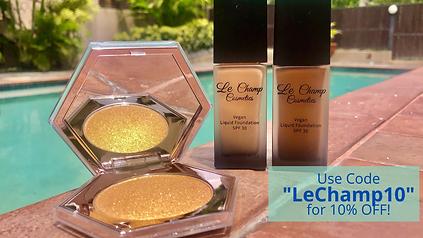 Le Champ Cosmetics Electric Gold Highlighter Jamaican Makeup Brand Vegan Organic Makeup Black Owned Foundation