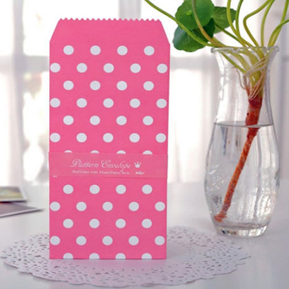 Vintage Envelopes - Pink Dots - Set of 5