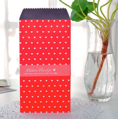 Vintage Envelopes - Red Hearts - Set of 5
