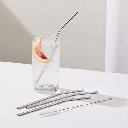Ecofriendly Stainless Steel Straws - Set of 3 + Cleaner