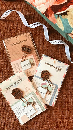 Metallic Paper Clip Bookmark - Travel - Airplane