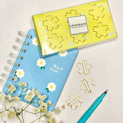 Bookmark/Paper Clips Set of 6 - Flower Power - Gold