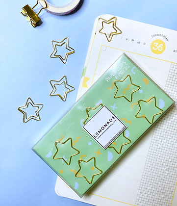 Bookmark/Paper Clips Set of 6 - Shining Star - Gold
