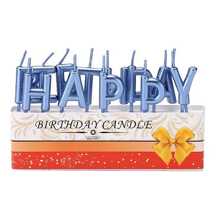 Metallic Happy Birthday Candles - Blue