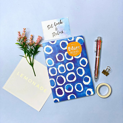 100 - Day Goal Notebook With Multicolor Pen & Washi Tape - Blue Circles