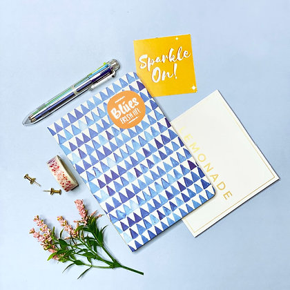 100 - Day Goal Notebook With Multicolor Pen & Washi Tape - Blue Aztec