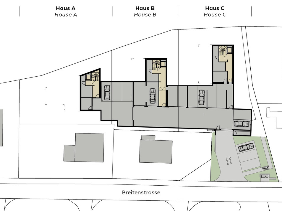 Übersicht Garagengeschoss/Overview garage floor