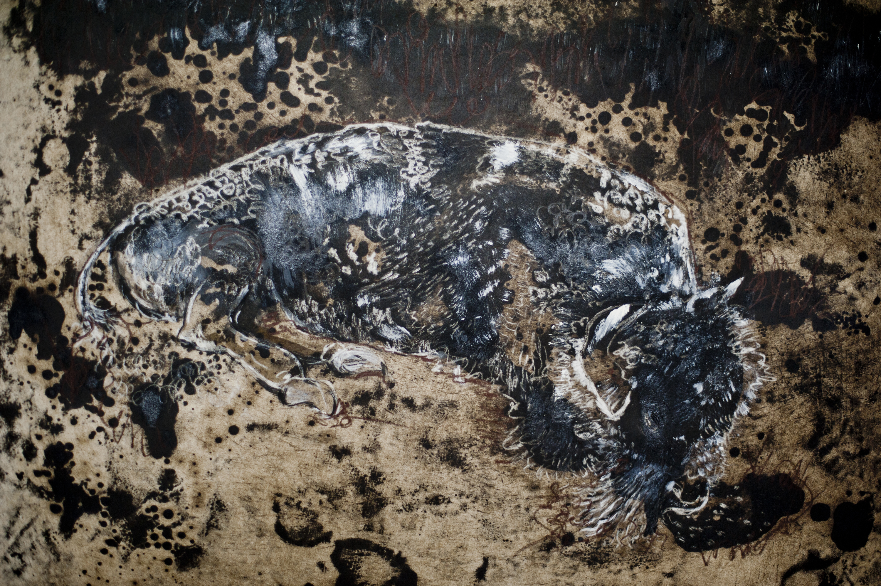 Calming of a Bison (detail)_Claire LEE_Ink,chalk and bitumen paint on paper_85x62cm