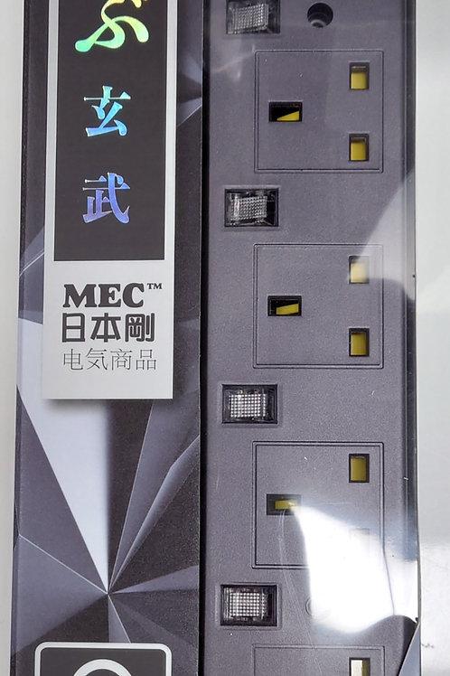MEC Power Bar PD-4USB/6' Metallic Grey+ Type C PDQC3.0(5V3A/9V2A/12V1.5A)+ Type