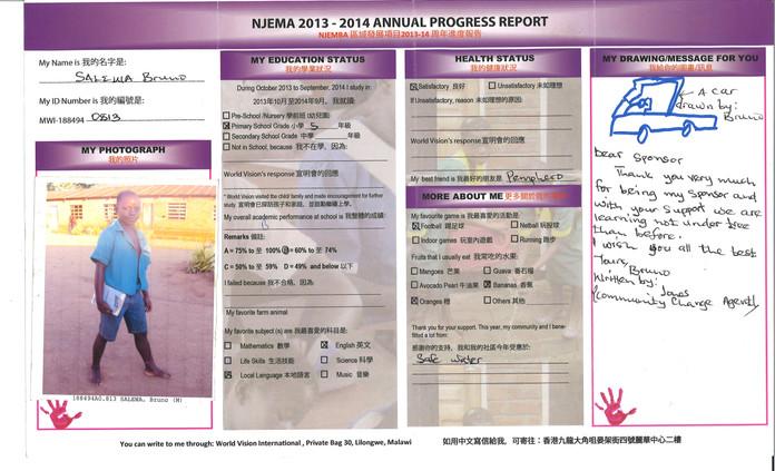 Malawi-Salewa Bruno Progress Report 2013