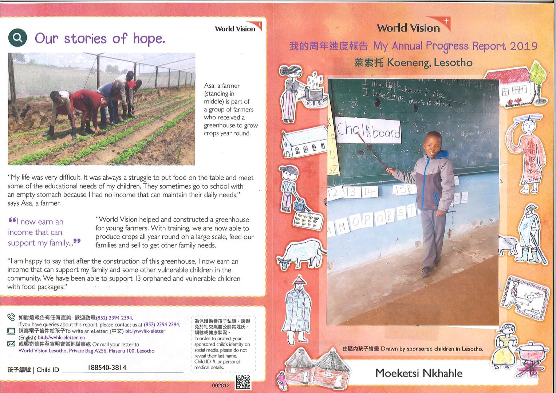 Lesotho-Moeketsi Nkhahle Progress Report