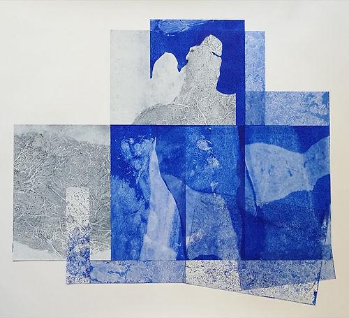 Assemblage composite. Acrylique sur transparents et papier. 85x80 cm