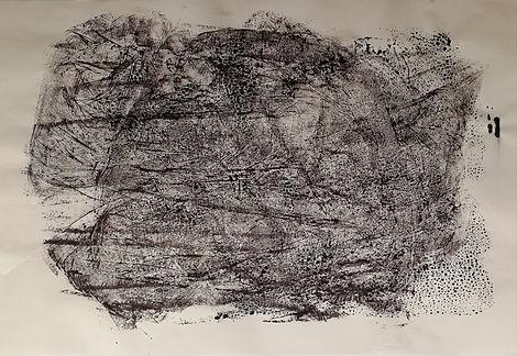 empreinte encre sur papier de riz. 70x34 cm.
