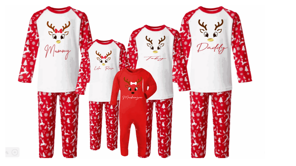 Family Red and White Reindeer Pyjamas