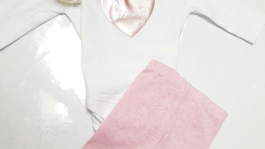 Baby Long or Short Sleeve Heart Legging set