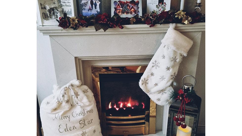 Personalised Plush Large Gold and Cream Santa Sacks