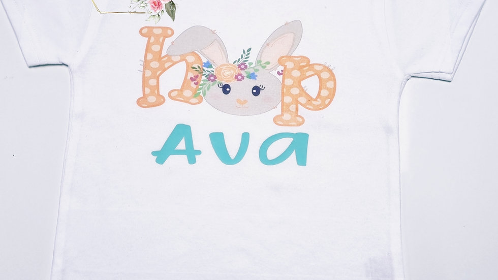 Personalised Easter Bunny Hop Short Sleeve Childrens T-shirt