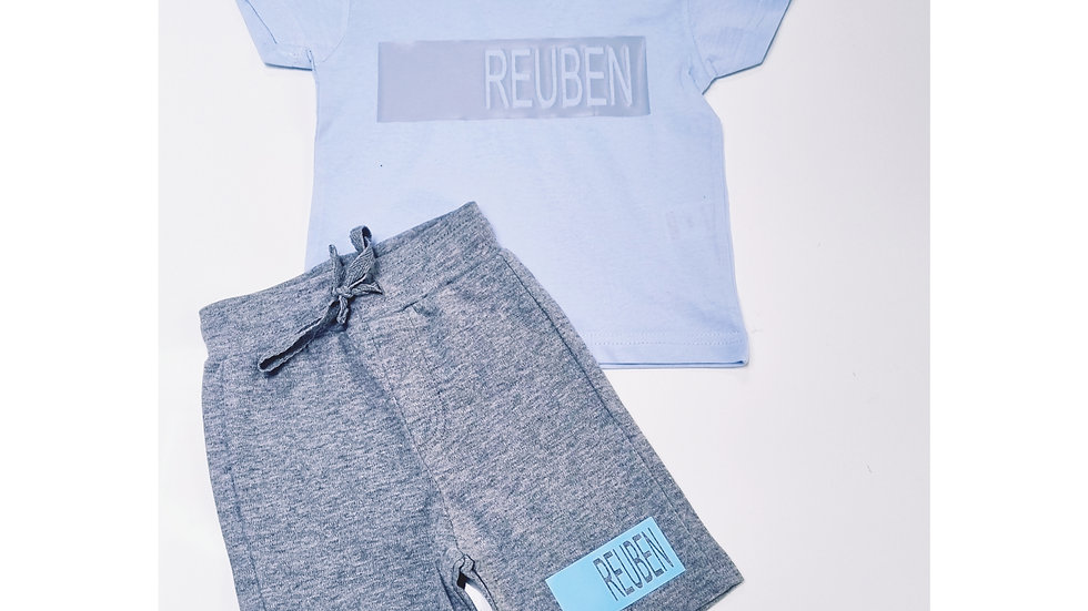 Personalised Panel Blue and Grey Short Set