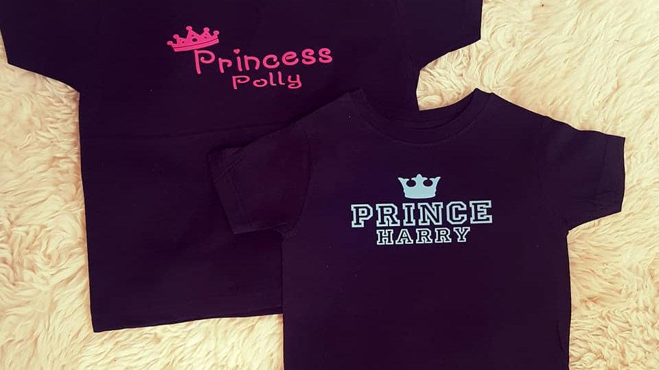 Personalised Prince and Princess T-shirt