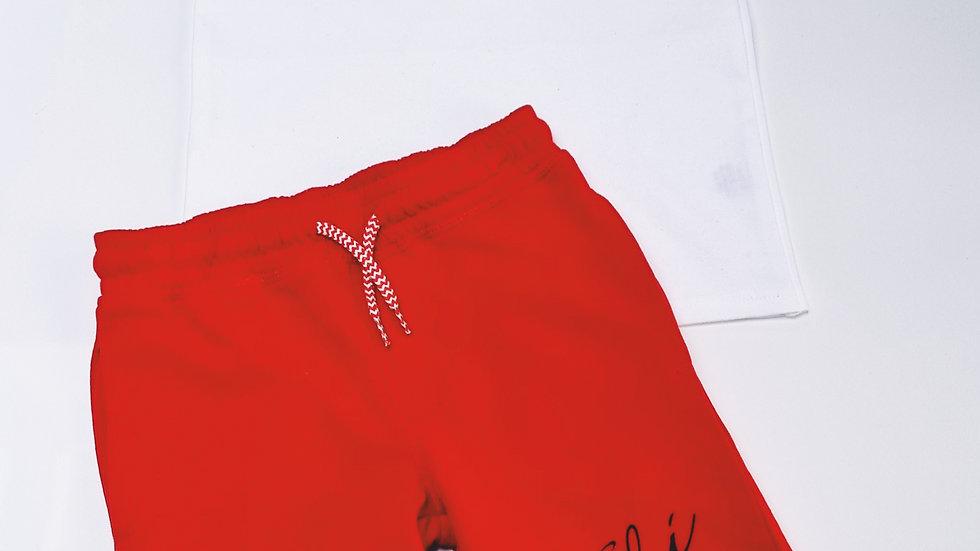 Personalised White Tshirt Red Short set