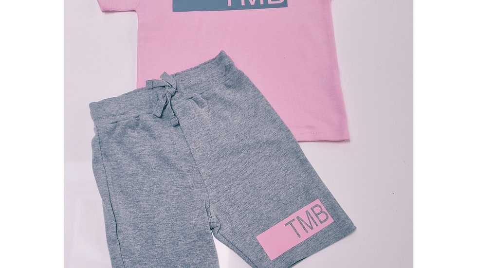 Personalised Panel Pink and Grey Short Set