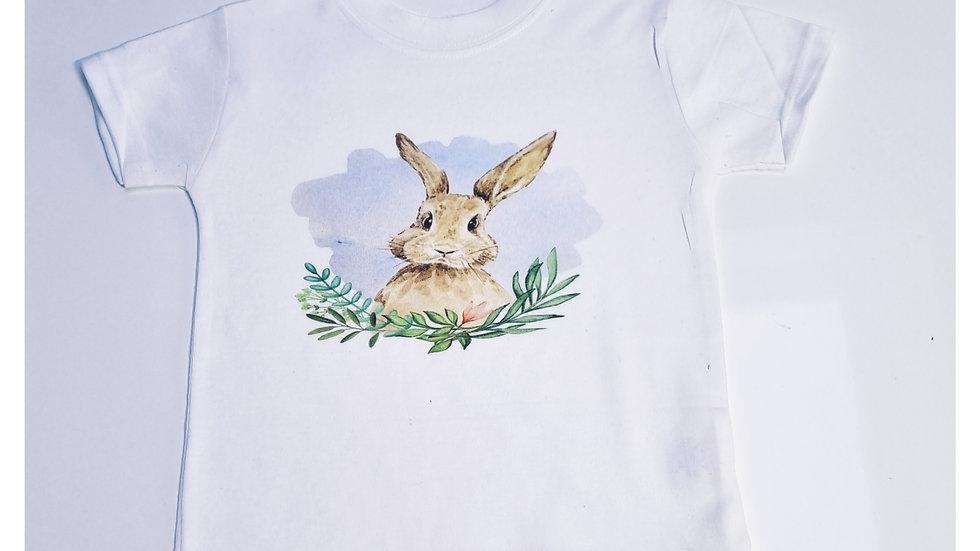 Watercolour Bunny Rabbit Short Sleeve Childrens T-shirt