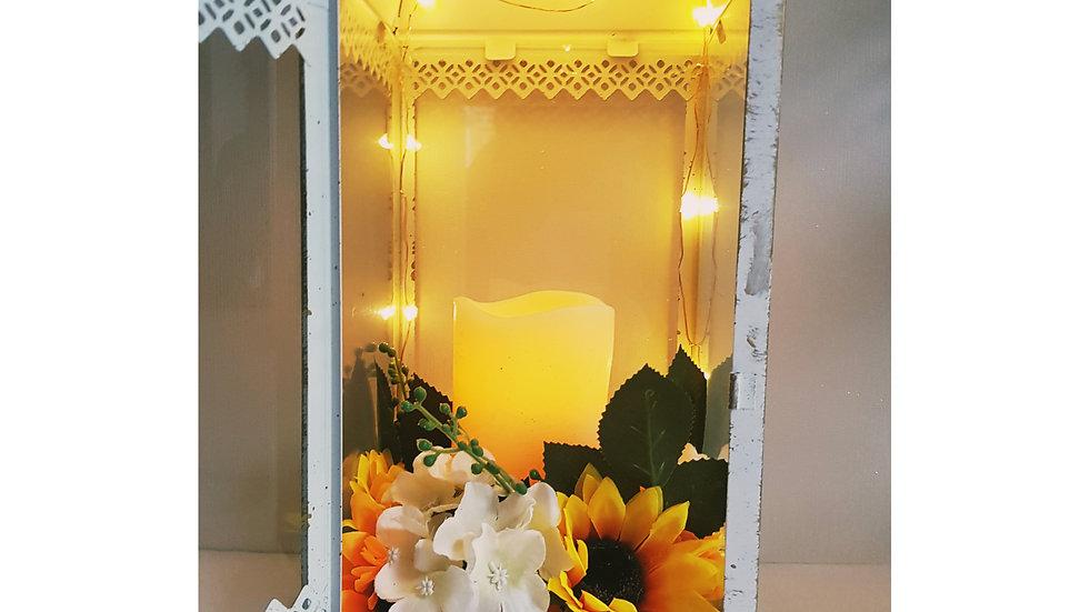 Sunfower White Wash Lantern