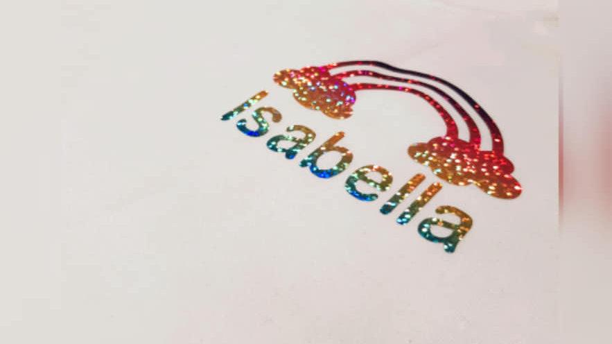 Personalised Rainbow Pocket Print T-shirt