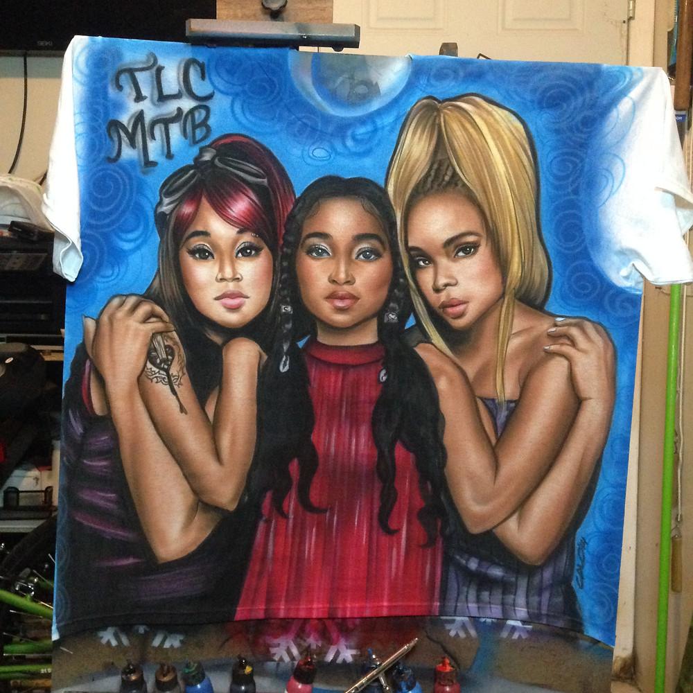 R&B band TLC airbrush portrait on t-shirt by Graffiti Pop Events Airbrush Artists.
