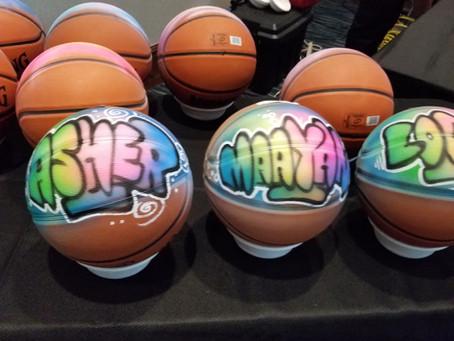 Airbrush Basketballs at Sports Themed Bar Mitzvah at Lubavitch Aventura South