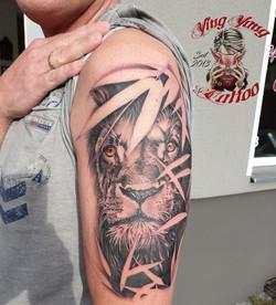 Lion / Löwe Tattoo frisch gestochen