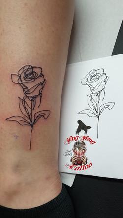 Rosen , Flower Tattoo one line tattoo
