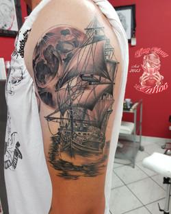 sailing ship tattoo