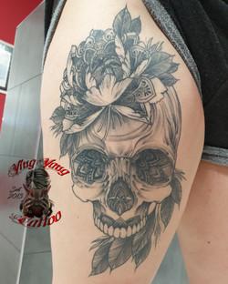 skull Tattoo with flowers & Mandala