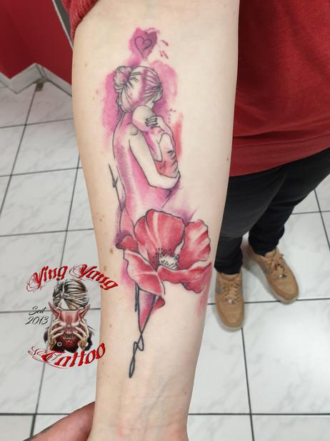 watercolor tattoo , Mutter und Sohn , Familie