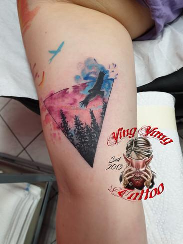 watercolor Tattoo , small / kleines Tattoo mit bäumen